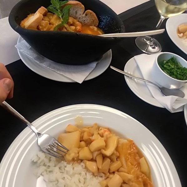Chocos estufados c molho de Camarão do Restaurante Santa Luzia