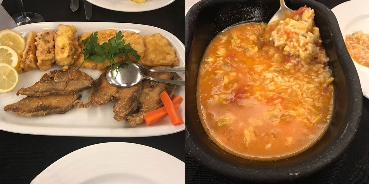 Sável frito e Polvo Frito com arroz de Tomate do Restaurante Santa Luzia